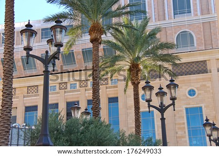 Palm trees and lantern on the streets of Las Vegas. Nevada - stock photo