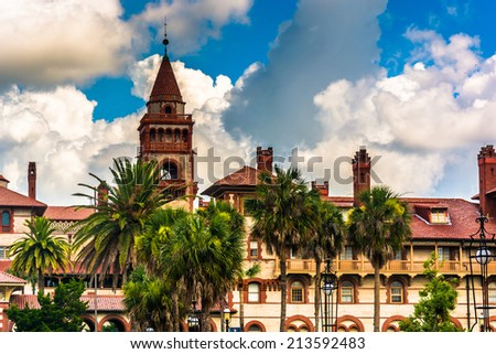 Palm trees and Ponce de Leon Hall at Flagler College, in St. Augustine, Florida. - stock photo