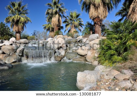 Palm trees flourish around a pool of water at a park in Palm Desert, California. - stock photo