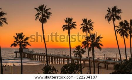 Palm trees on Manhattan Beach  at orange sunset and Pier in California, Los Angeles, USA. - stock photo