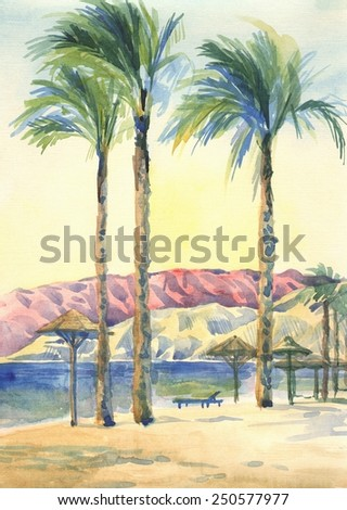 Palm trees on the beach. The paintings. Watercolor - stock photo