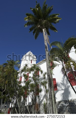 Palm trees tower in blue sky over traditional colonial architecture in Salvador Brazil - stock photo