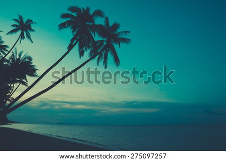 Palm tress on tropical ocean beach, retro toned - stock photo