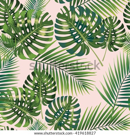 Palm Tropical leaves seamless pattern. - stock photo