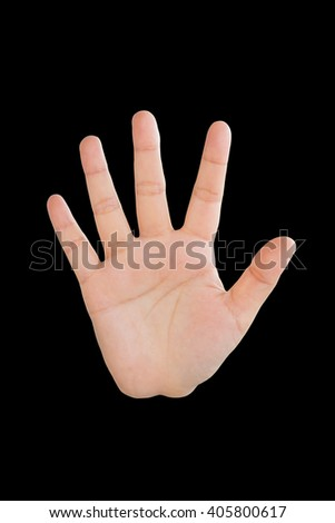 palm women, hand women, hand sign, hi five sign, greet sign, stop sign, hand up sign, the fifth sign on black background - stock photo