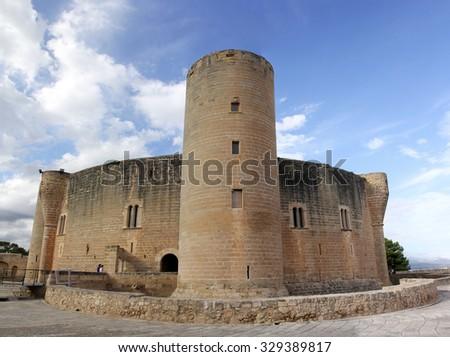Palma, Castle de Bellver, Bellver Castle, Majorca, Spain, (large stitched file) - stock photo
