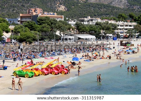 PALMA NOVA BEACH, MAJORCA, SPAIN - 27th August 2015: Palma Nova beach resort on the 27th August 2015. This is a popular and established tourist destination every summer. - stock photo