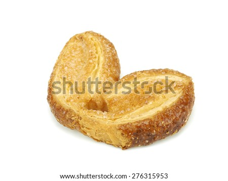 Palmiers, puff pastry cookies on a white background - stock photo