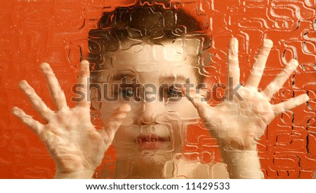 palms, hand, boy, barrier, prohibition, shutout, distinctness, otherness - stock photo