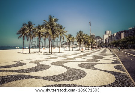 Palms on Copacabana Beach in Rio de Janeiro, Brazil - stock photo