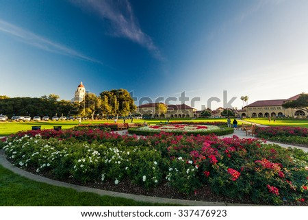 PALO ALTO, USA - OCT 22 2014: Stanford University and park. Stanford University is one of the world's leading research and teaching institutions. It is located in Stanford, California. - stock photo