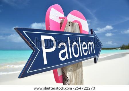 Palolem (Goa) arrow on the beach - stock photo