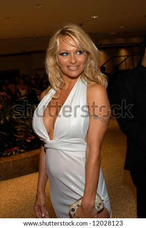 Pamela Anderson arrives at the White House Correspondents' Dinner April 26, 2008 in Washington, D.C. - stock photo