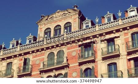Pamplona Iruña City Center Square Castillo Basque Country Spain - stock photo