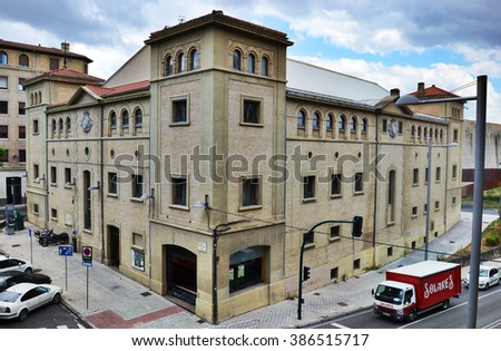 Pamplona, Spain - June 14th 2014: Labrit Fronton of Pamplona during the day - stock photo