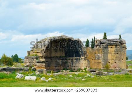 Pamukkale. Turkey. Ruins of Hierapolis, ancient city - stock photo