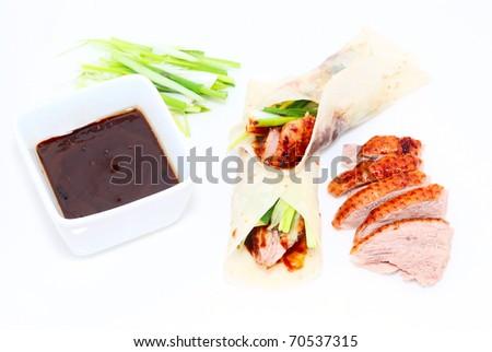 Pan cake roast duck - stock photo