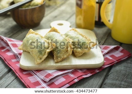 Pan fried dumplings set with Soy Sauce - stock photo