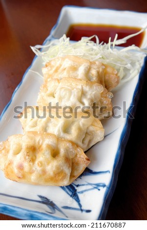 Pan-fried gyoza with dipping sauce  - stock photo