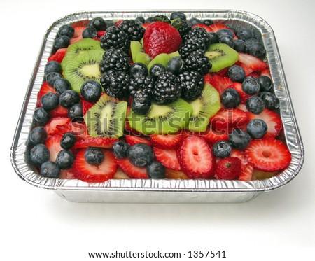 Pan of Summer Fruit Dessert - stock photo