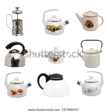 pan pot kitchen isolated white background - stock photo