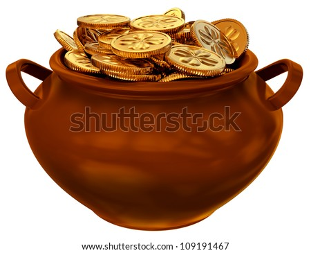 pan with coins as a symbol of fortune and wealth - stock photo