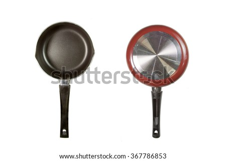 Pan with handle isolated on white background - stock photo