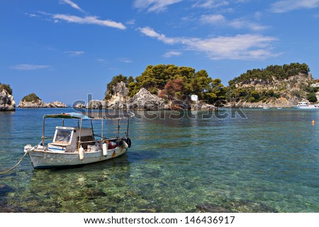 Panagia isle at Parga near Syvota in Greece. Ionian sea - stock photo