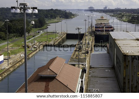 Panama Canal. Inside the lock. - stock photo