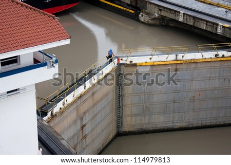 Panama Canal. Lock door. - stock photo
