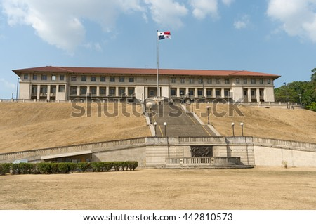 PANAMA CANAL, PANAMA - APRIL 13, 2013: View of the Panama Canal Administration building. This landmark was seat of the former Canal Zone Government and Panama Canal Company. - stock photo