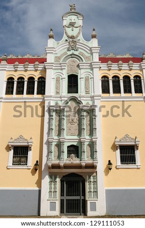 Panama, Casco Veijo is historical colonial center of Panama City. Cityscape - old town - main gate to colonial Bolivar palace - stock photo
