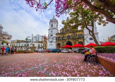 Panama Cathedral, Sal Felipe Old Quarter, UNESCO World Heritage Site, Panama City, Panama, Central America - stock photo