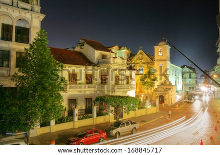 Panama City, Casco Viejo in the night  - stock photo
