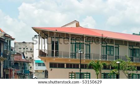 Panama city Casco viejo old colonial houses - stock photo