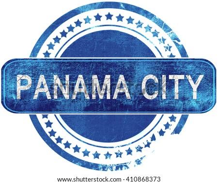 panama city grunge blue stamp. Isolated on white. - stock photo