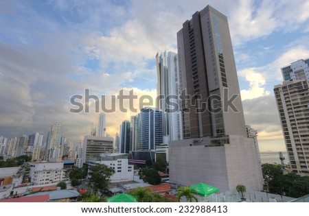 PANAMA CITY - NOV 24: Stunning view of skyline in Panama City, Panama on Nov 24, 2014. Is main commercial area in all the country where are the main banks and government offices.  - stock photo