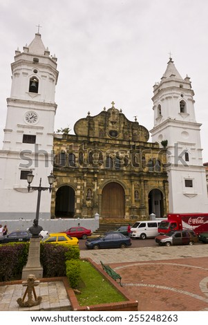 PANAMA CITY, PANAMA - AUGUST 10, 2009: Cathedral, in Casco Viejo, historic city center. - stock photo