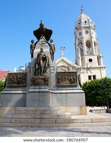 PANAMA CITY, PANAMA - JANUARY 18, 2014: The monument to Simon Bolivar in Plaza Bolivar in the historic Casco Viejo district of Panama City. Casco Viejo was designated a World Heritage Site in 1997 - stock photo
