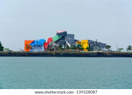PANAMA CITY PANAMA NOVEMBER 26: Frank Gehry's Museum of Biodiversity on november 26 2012 in Panama City, Panama. Psychedelic science museum sits at the mouth of the Panama canal. - stock photo