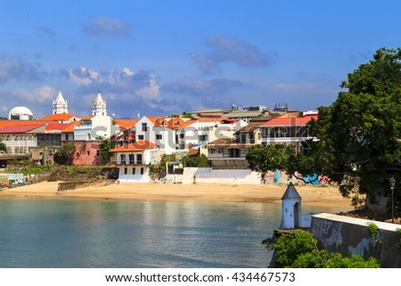 PANAMA CITY, PANAMA, 21 10 2015. Old buildings in the old part of Panama City, The city of Panama was founded on August 15, 1519 by Spanish conquistador. The metro population of around 1,440,000  - stock photo