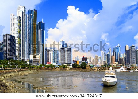PANAMA CITY, PANAMA,  20 10 2015. Skyscrapers in Panama City, skyline on a background. The metro population of  around 1,440,000 - stock photo
