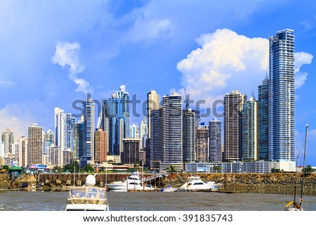 PANAMA CITY, PANAMA, 20 10 2015. Skyscrapers in Panama City, skyline on a background. The metro population of around 1,440,000 The city of Panama was founded on August 15, 1519 by Spanish conquistador - stock photo