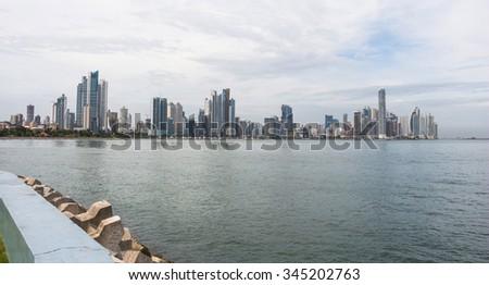 Panama City Skyline, seen from Casco Viejo - stock photo