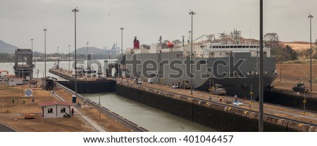 PANAMA - MARCH 21: The Panama Canal, which connects the Atlantic Ocean to the Pacific Ocean, is a key conduit for international maritime trade in Panama, March 21, 2016 in Panama - stock photo
