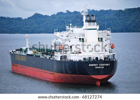 PANAMA - OCTOBER 6. IJuly 2009: the Panama Canal Authority awarded contracts to a consortium of companies to build 6 new locks by 2015. The Gatun Lake, between locks. October 6 2010, Panama - stock photo