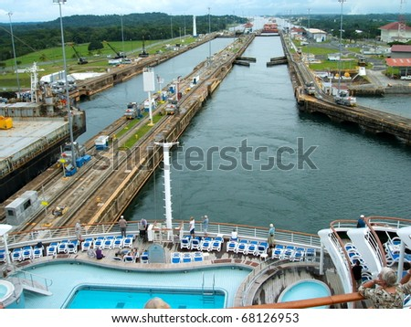 PANAMA - OCTOBER 6. In July 2009, the Panama Canal Authority awarded contracts to a consortium of companies to build six new locks by 2015. The narrow canal seen from a ship. October 6, 2010, Panama - stock photo