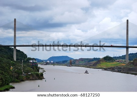 PANAMA - OCTOBER 6. July 2009: the Panama Canal Authority awarded contracts to a consortium of companies to build 6 new locks by 2015. Gamboa Bridge, with dredging underway October 6, 2010, Panama - stock photo