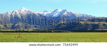 panarama of great southern alpine alps in New Zealand - stock photo