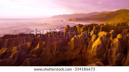 Panaroma pancake rocks scenic view mountains Concept - stock photo